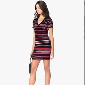 Cupcakes and Cashmere Motley Striped Knit Dress Sm